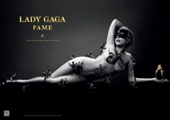 La reine de la provocation et chanteuse  Lady Gaga vient de présenter son parfum « Fame « . Pour sa première photo promotionnelle réalisée par le célèbre photographe Steven Klein , nous découvrons 15 minis hommes dénudés grimpant sur le corps nu de Lady Gaga!