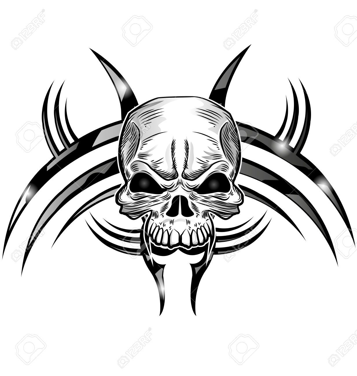 skull tattoo design isolate on white royalty free cliparts vectors and stock illustration. Black Bedroom Furniture Sets. Home Design Ideas
