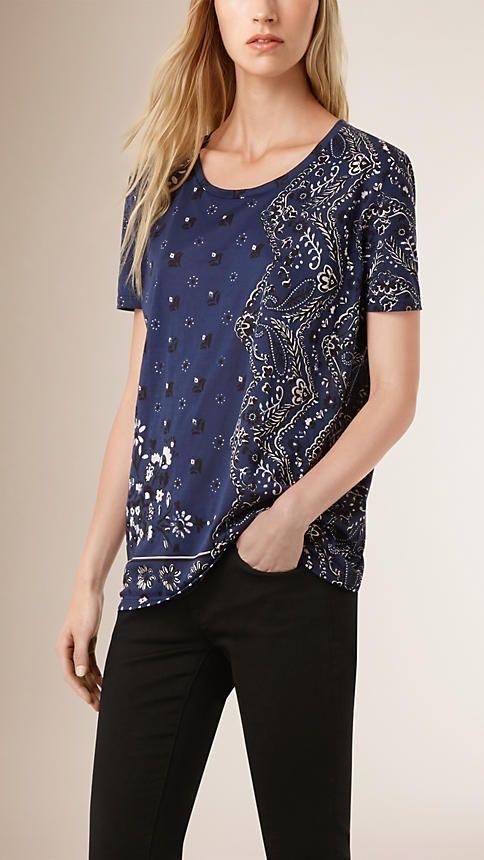 Índigo Camiseta de algodão com patchwork de estampa floral - Imagem 1