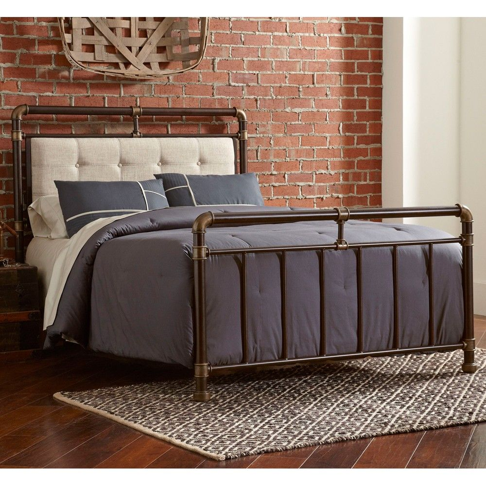 Soho Upholstered Iron Bed In Brown Copper By Largo Furniture
