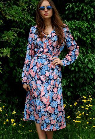 Vintage 60's Linton floral print dress