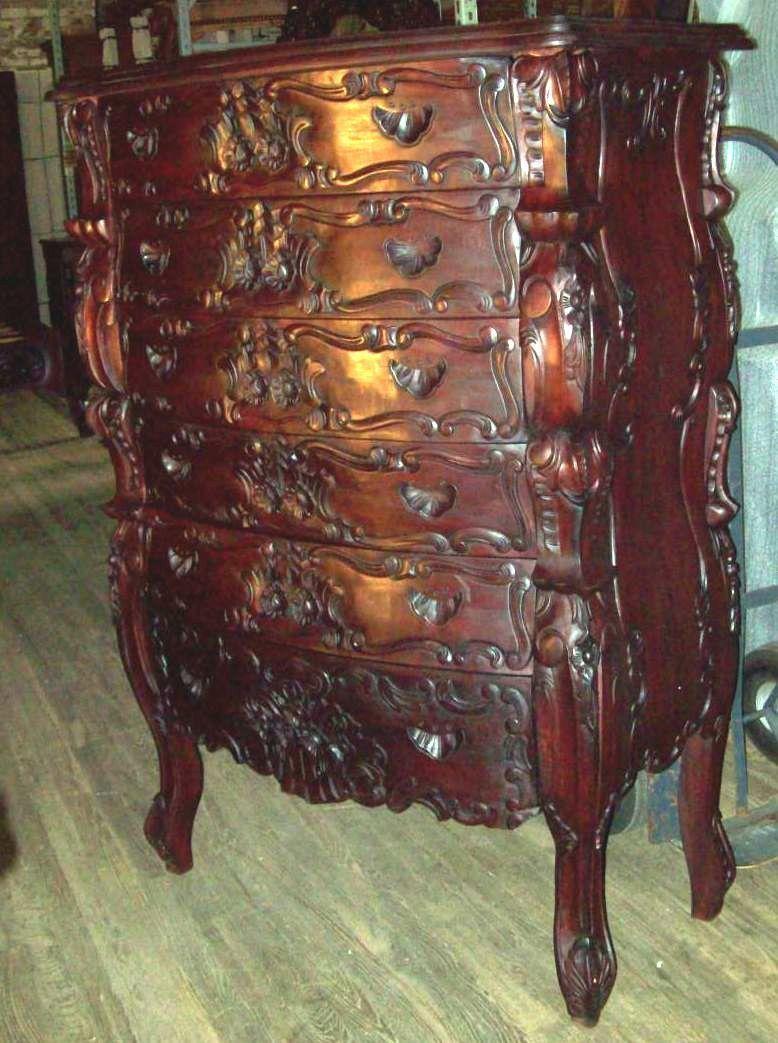 6 Piece Rococo Bedroom Set Hand Carved Mahogany Quee Size
