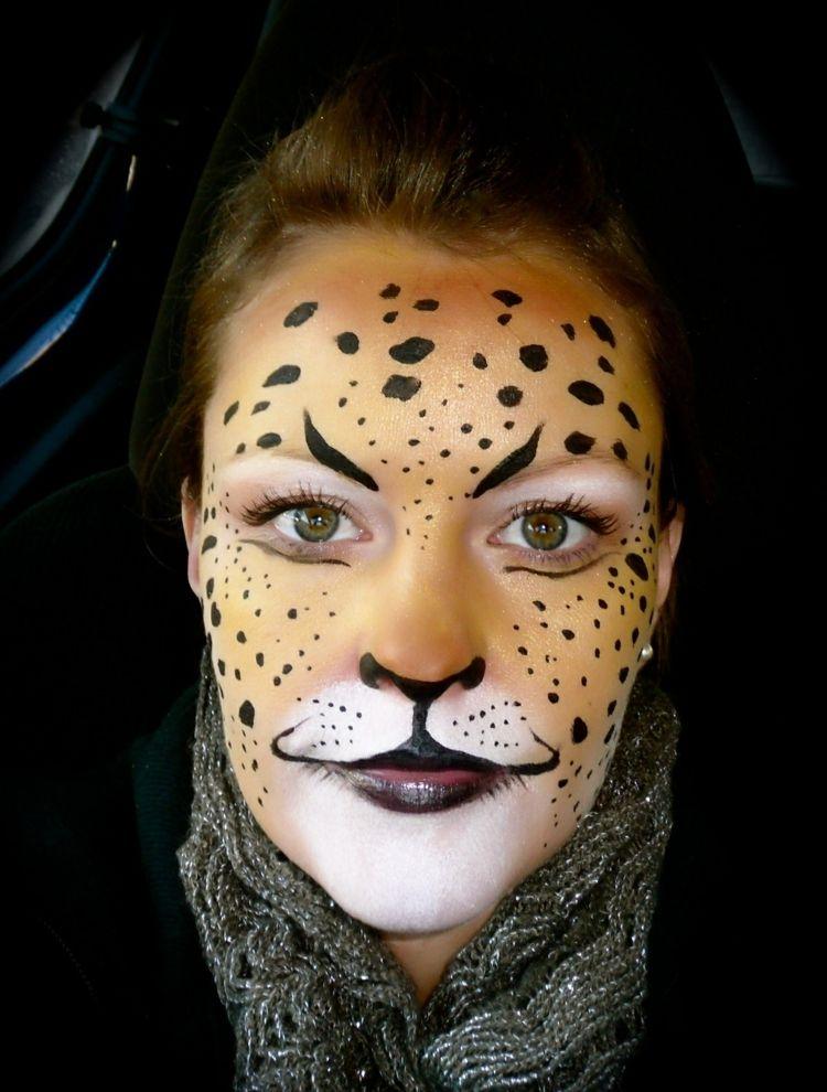 leopard make up ideen frau gesichtsbemalung orange gold. Black Bedroom Furniture Sets. Home Design Ideas