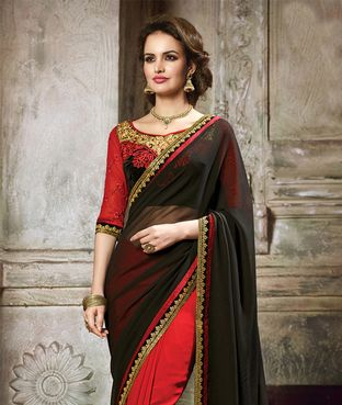 Inddus Black N Maroon Embroidered Party Wear Saree | I found an amazing deal at fashionandyou.com and I bet you'll love it too. Check it out!