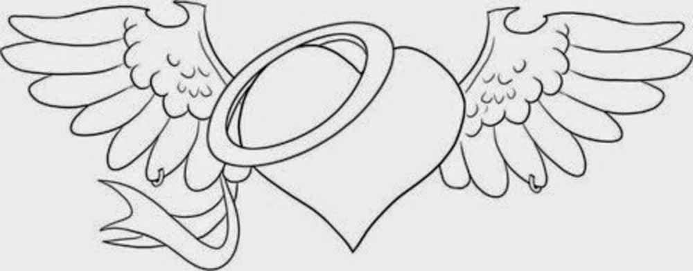 Dibujo San Valentin Corazon Con Alas De Angel Para Regalar Corazon Con Alas Dibujos Con Rotulador Indeleble Dibujos De Corazones