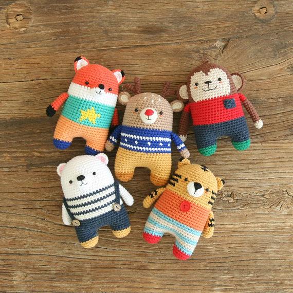 crochet pattern-5in1/fox/monkey/tiger/polarbear/deer/symbolpattern(PDF/ENG) #crochetbearpatterns