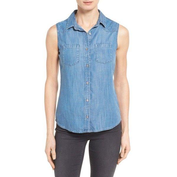 Mavi Jeans \u0027Alena\u0027 Sleeveless Tencel Denim Shirt ($88) ? liked on Polyvore