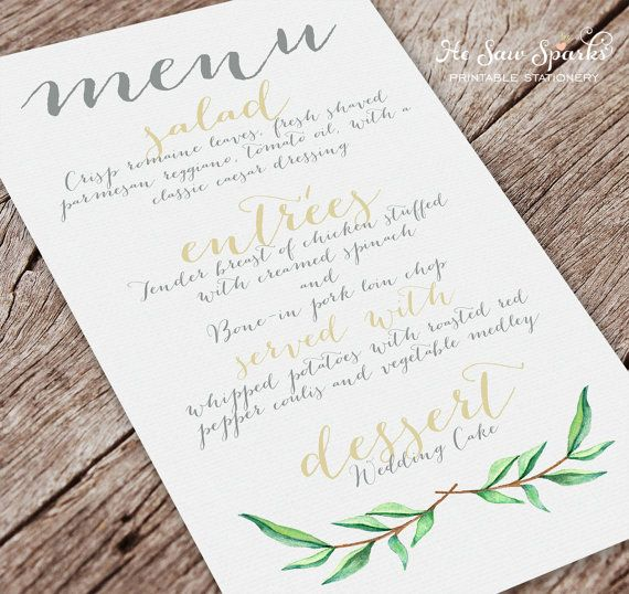 printable wedding menu card calligraphy by hesawsparks on