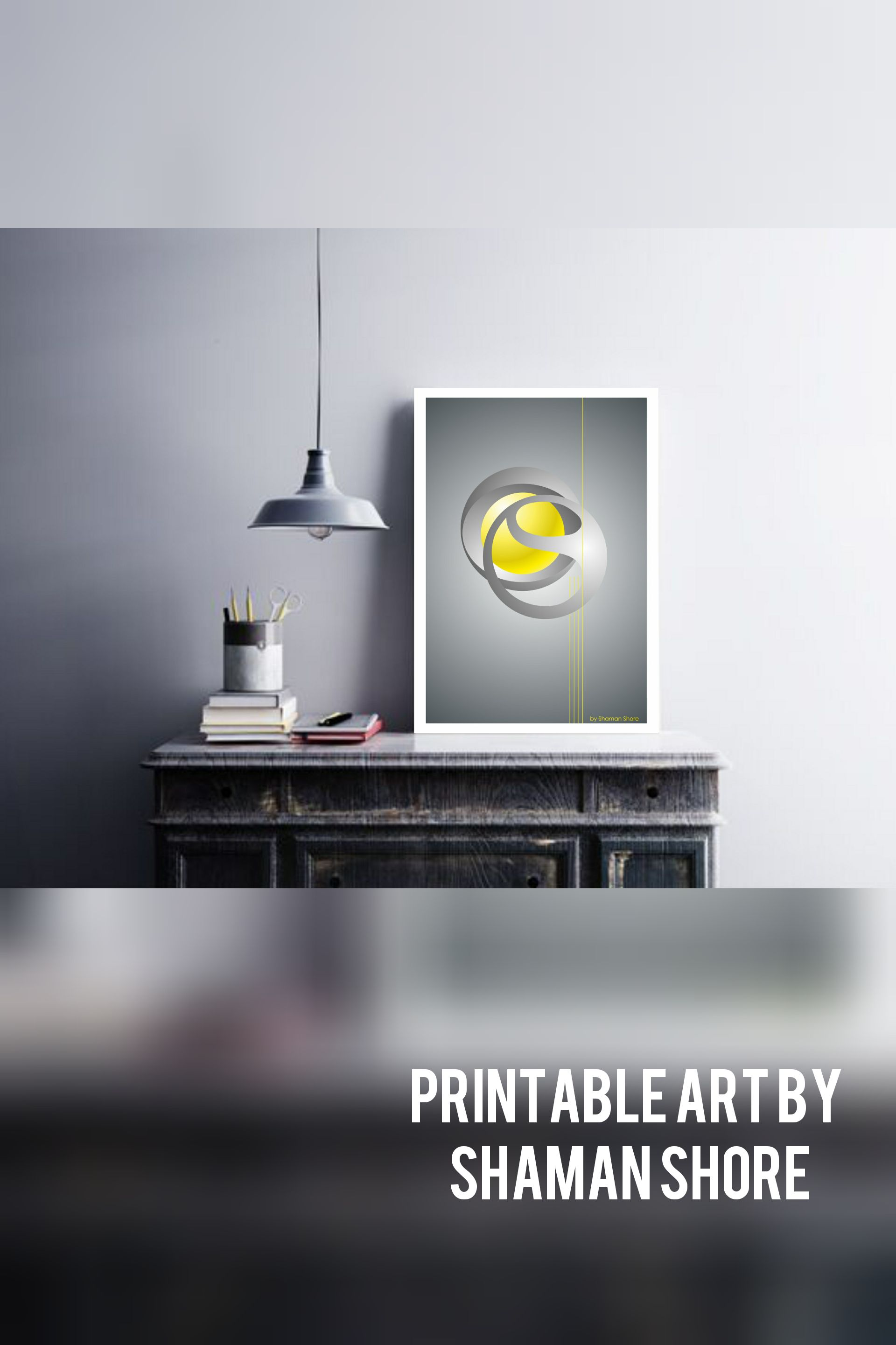 Wall Décor Yellow Grey Abstract Art Yellow Grey Wall Art Yellow