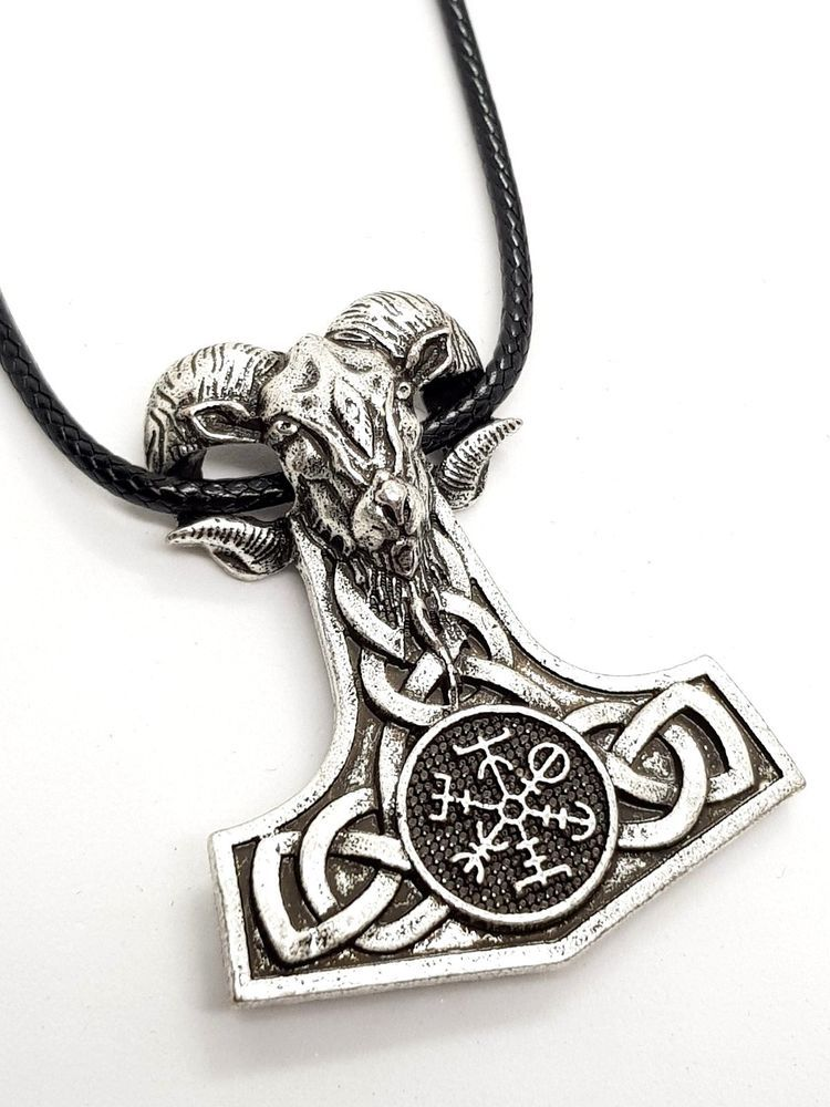 Thors Hammer Viking Serpent Dragon Pendant /& Leather Cord Torque Ring Necklace