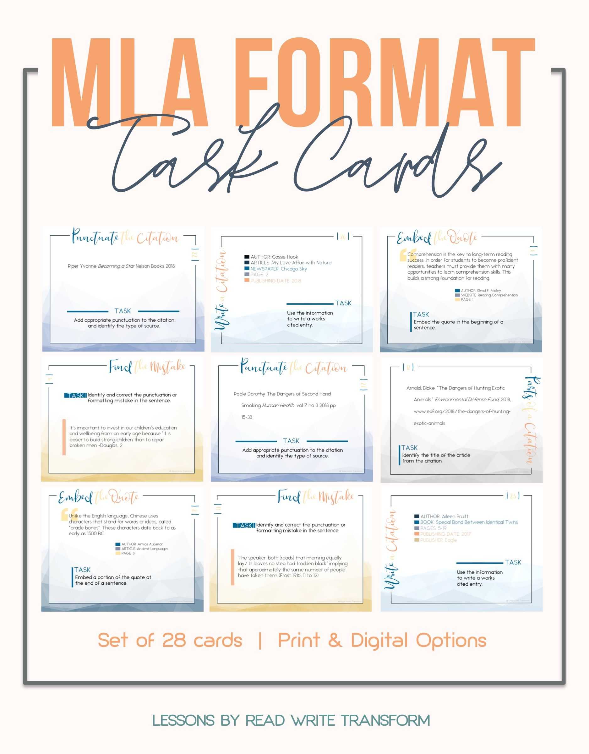Mla Format 8th Edition Task Cards