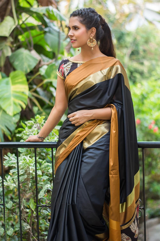54eb93fb1f3b9 Black soft cotton silk saree with mustard and dull gold border and  Kalamkari pallu detailing  saree  blouse  houseofblouse  indian  bollywood   style  black ...