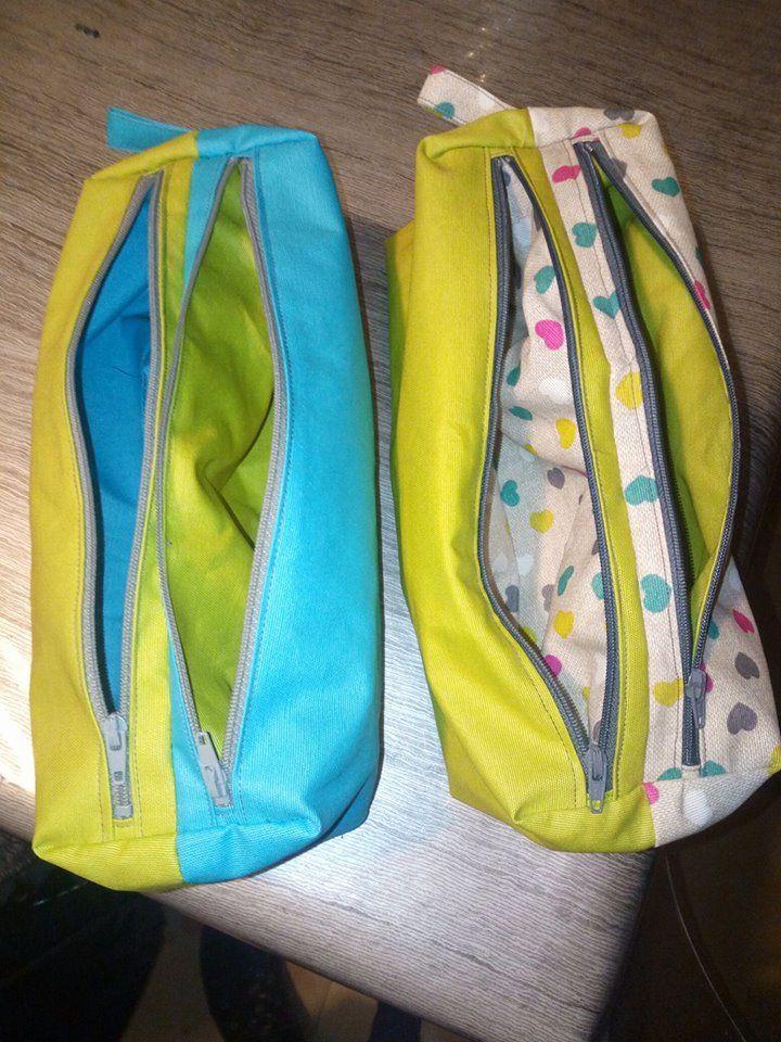 Trousses compartimentées Zip-Zip cousues par Anne - patron Sacôtin