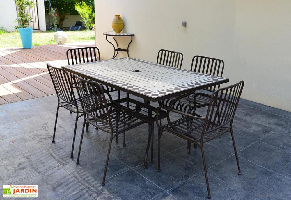 Table De Jardin Rectangulaire En Metal Et Mosaique 160 X 90 Cm