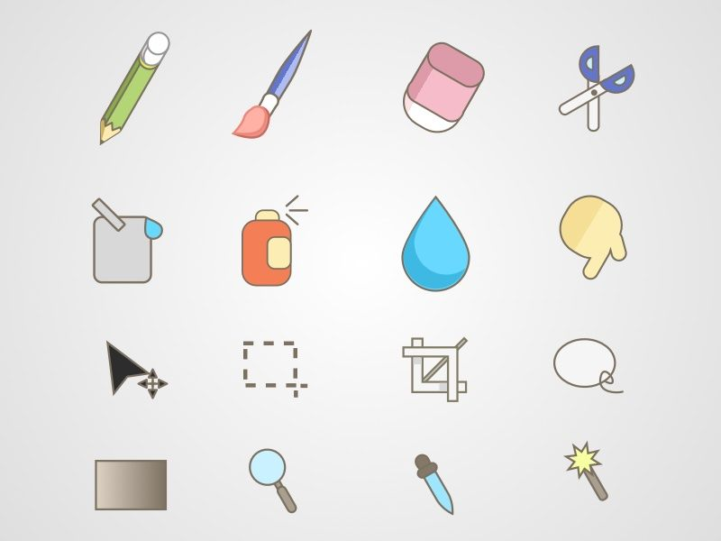 sketch app free sources paint tools icon set resource for sketch app - Free Sketches To Paint