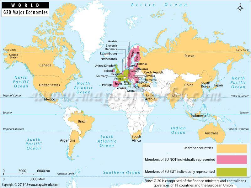 World Map showing location of G20 major economies member countries – Location of Belgium on World Map