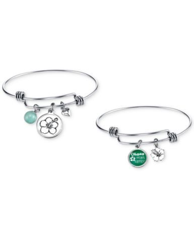 Disney 2-Pc. Set Amazonite (8mm) Mother and Child Lilo and Stich Bangles in Stainless Steel with Silver-Plated Charms | macys.com