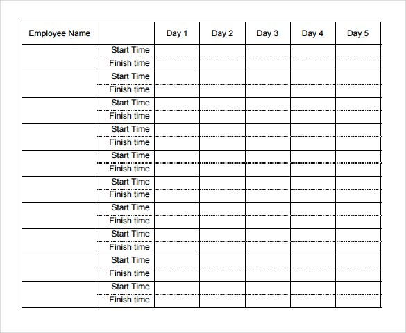Image result for weekly time sheets templates fashion M - attendance register sample