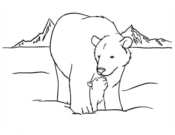 Polar Bear Kiss Her Baby Coloring Page Kids Play Color