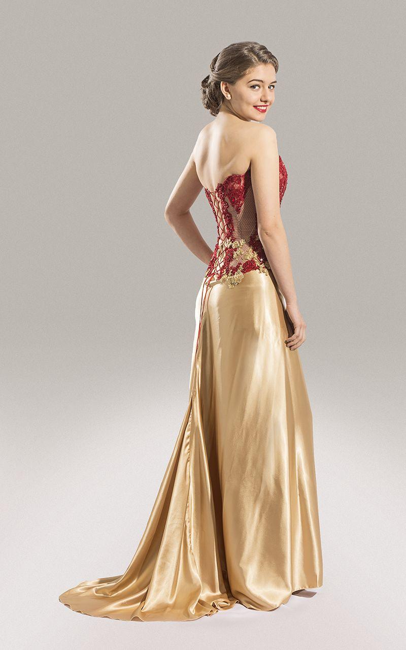 Vestido de Fiesta con corset transparente y falda de satén oro - www ...