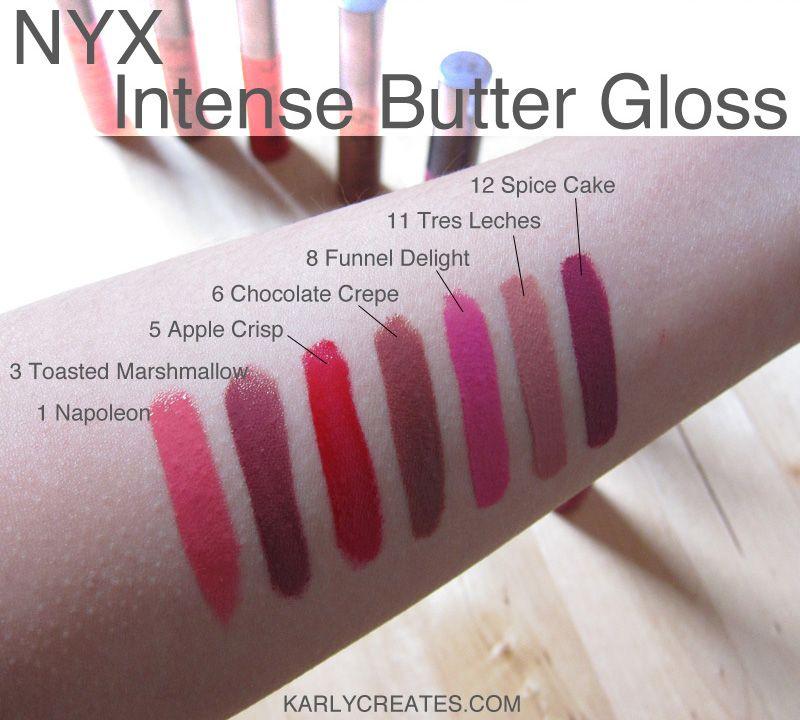 Nyx Intense Butter Gloss Swatches Karlycreatescom Nyx Cosmetics