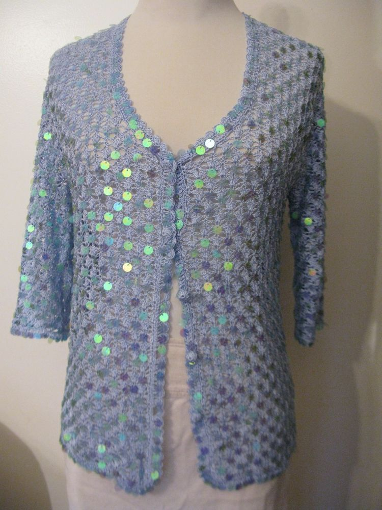 Designer Formal Party Bridal Cruise Blue Crochet Sequin Cardigan ...