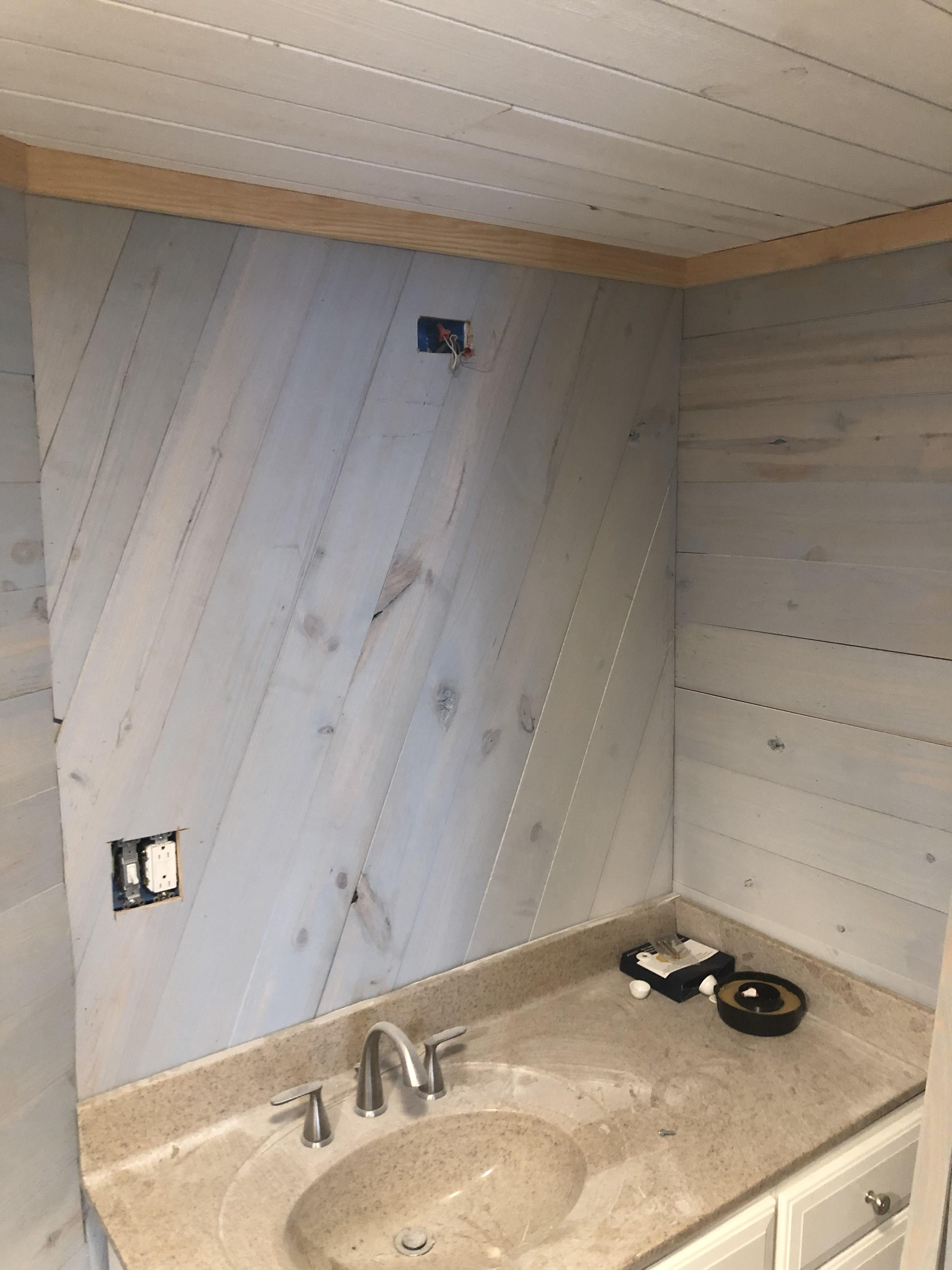 Our Shiplap Material Can Be Used In A Variety Of Ways Just Look At This Beautiful And Creative Install From One Of Ou Shiplap Discount Lumber Shiplap Bathroom