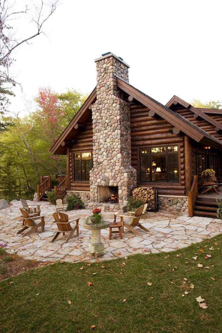 Log cabin with outdoor fireplace rustic western decor for Chalet log homes
