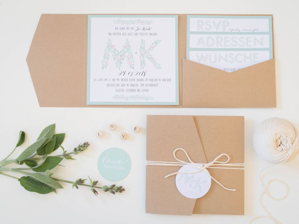 Pocketfold Hochzeitseinladung Juhu Papeterie Hochzeitspapeterie Kraftpapier  JUHU HOCHZEIT
