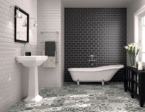 Bathroom Ceramic Wall Tile Subway Classic Tau Ceramica Avec Images Salle De Bain Noir Et Blanc Carrelage Salle De Bain Salle De Bain Noir