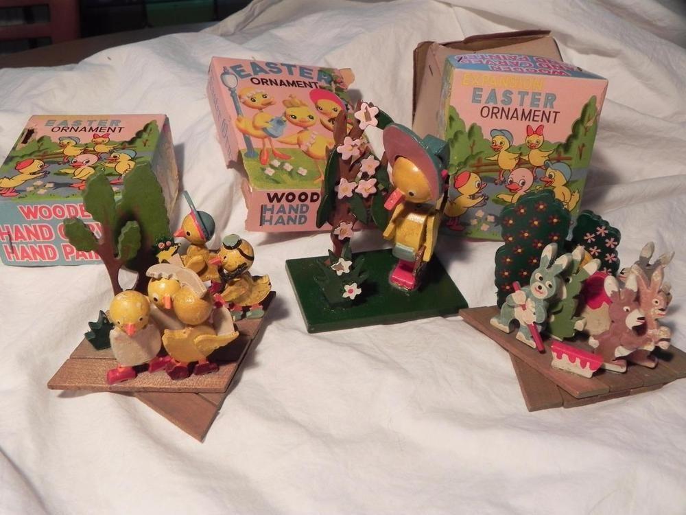 Easter Wood Ornaments Chicks Bunny Mama Nodder Hand Ptd. 1950s Box Vintage LOT 3
