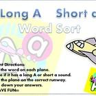 Students sort 16 airplane themed word cards based on the vowel sounds of short a and long A.Student directions, recording sheet, and answer key...