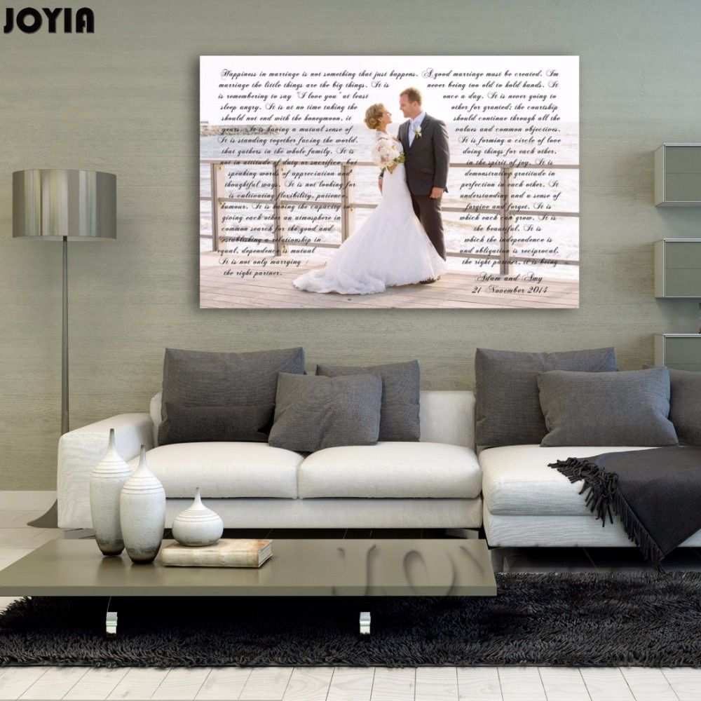 A personalized canvas wall art design using your own picture and any meaningful words. We can you use your wedding vows first dance song or any other words ... & Anniversary Vows On Canvas Prints Gift For Her And Him Custom ...