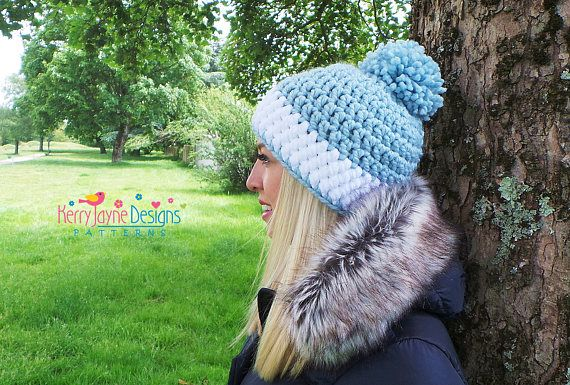 Crochet Hat Pattern Nordic Sparkle Hat Sparkly Pom Pom Hat Pattern
