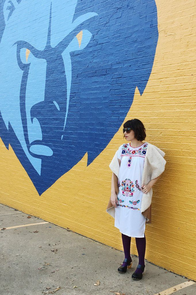 Blog post- modeling Mucho merch, traditional Mexican embroidered dress. #ootd