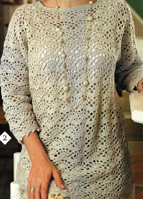 Crochet Sweater Pattern Easy Fan Lace Tunic Pattern Women Ladies