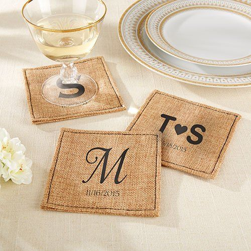Personalized Burlap Coasters Rustic Wedding Favors Best Wedding