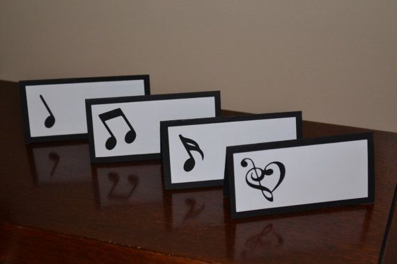Music Place Cards Food Tents Music Birthday Party Set Of 12 In