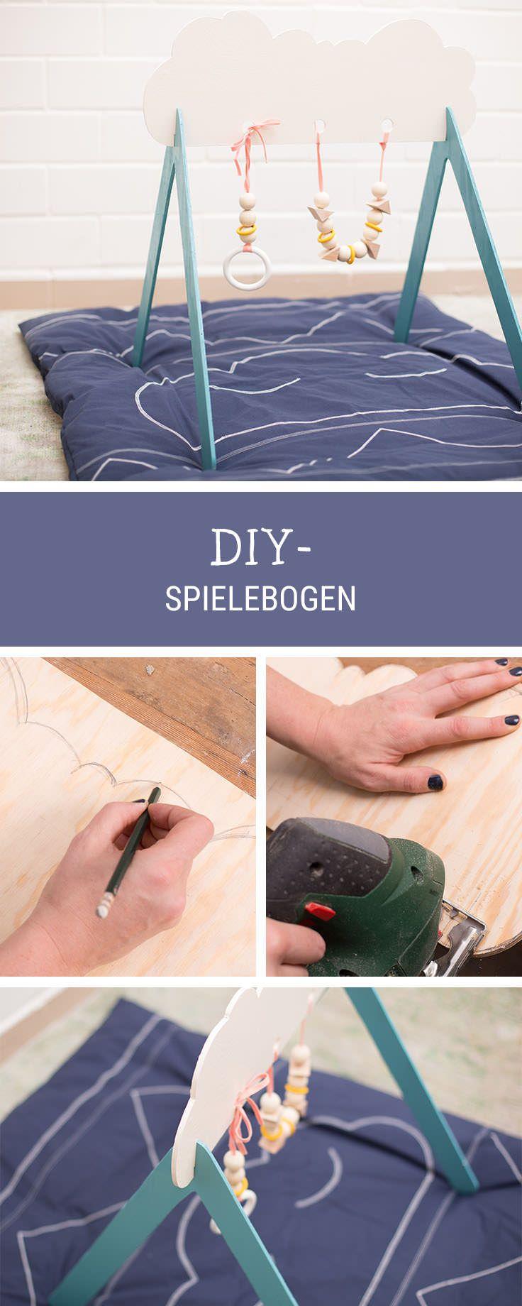 Spielzeug fürs Baby selbermachen: Spielebogen aus Holz bauen / baby diys: wooden mobile for newborns via DaWanda.com #holzbauen