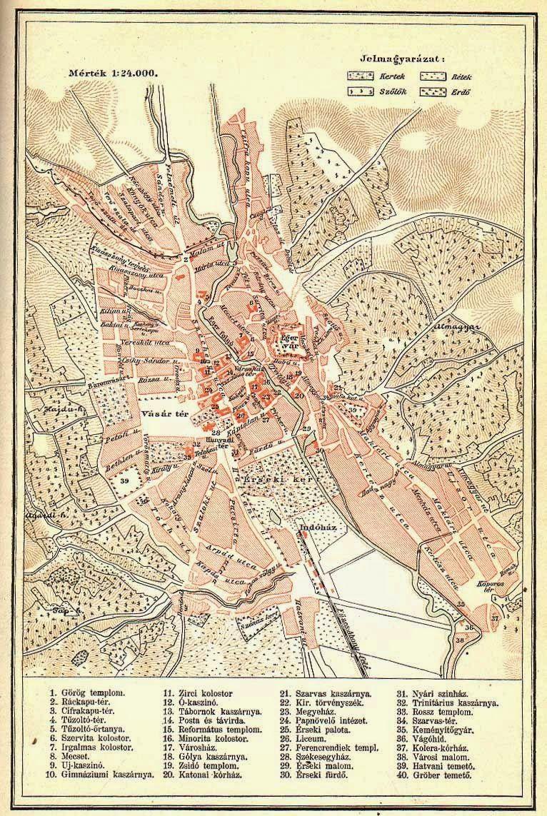 eger színház térkép Régi Eger térkép | Magyarország | Pinterest eger színház térkép