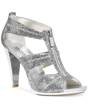 5bf09f3a1 Michael Michael Kors Berkley T-Strap Dress Sandals - Silver 6.5M ...
