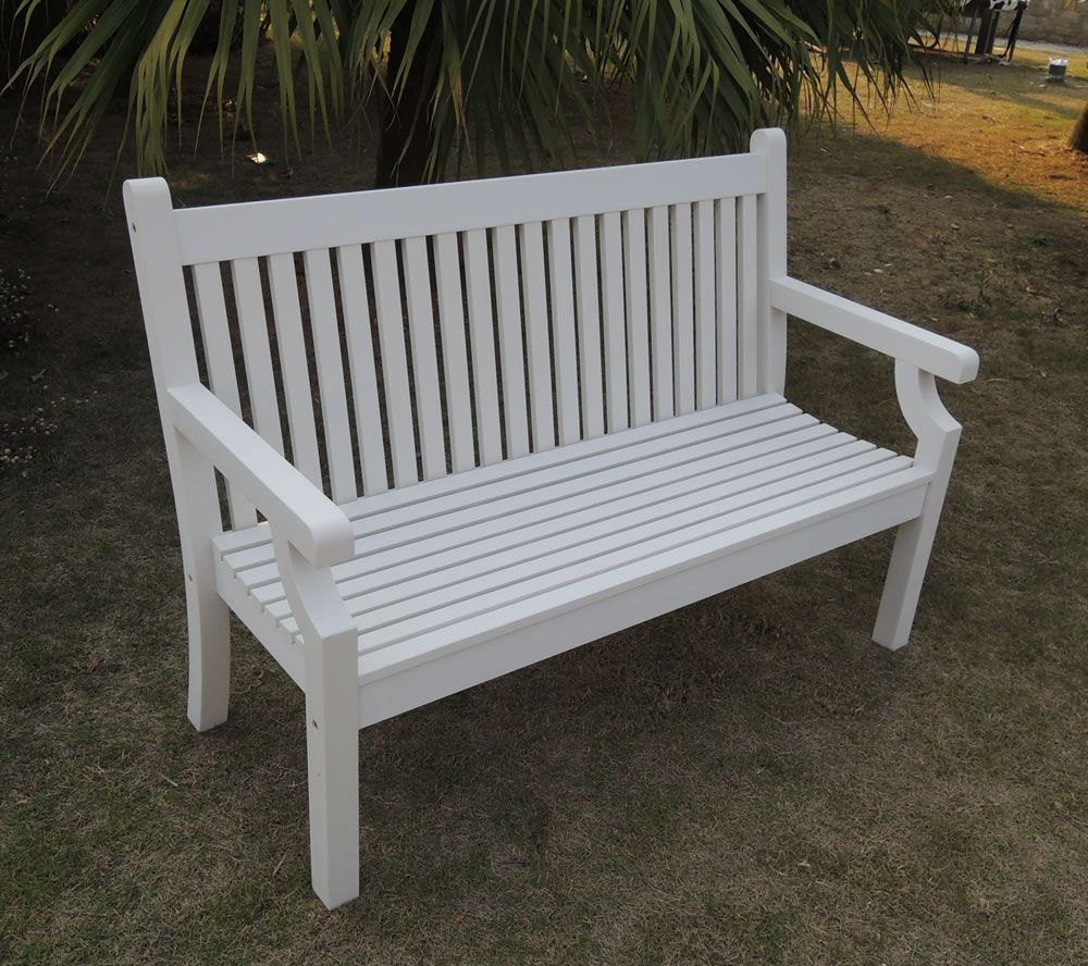 Small image of sandwick winawood 3 seater wood effect garden bench white finish