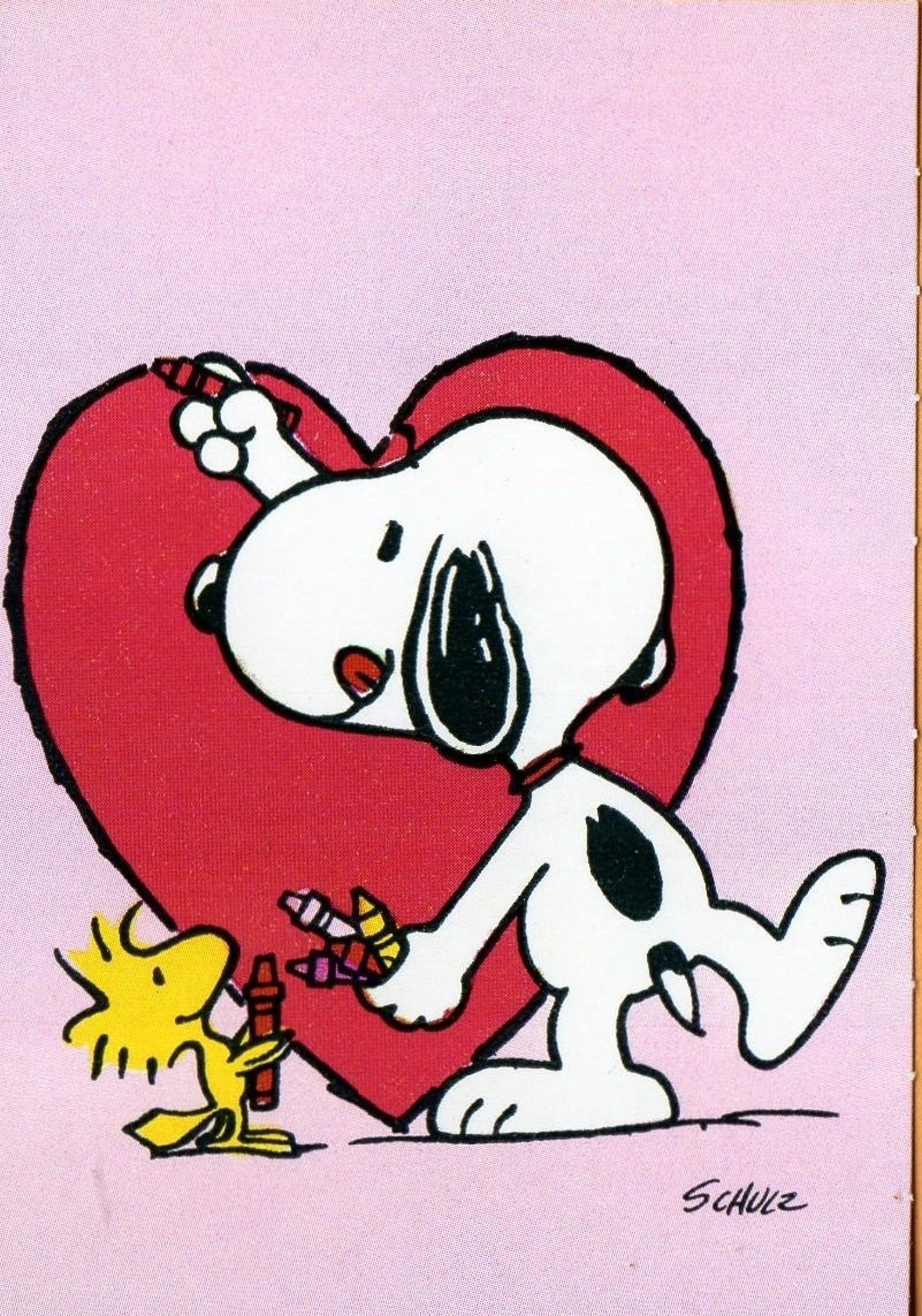 Vintage Peanuts Valentine Card Woodstock Hands Snoopy Crayons Etsy In Snoopy Wallpaper Snoopy Love Snoopy Pictures