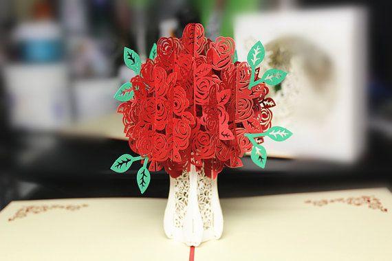 Laser 3D di Natale regalo tagliato colore stampa carta rosso rosa bianco rosa fiore in piedi cartolina d