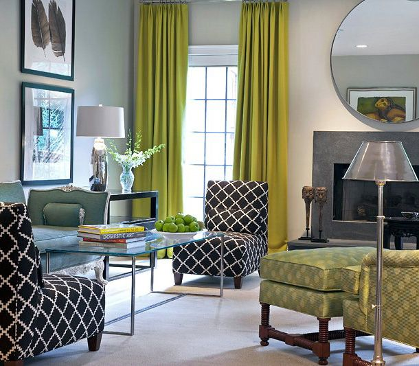 Good Contemporary Feel And Color Combination But Not Sure For Long Term I Like The Circular Mirror T Curtains Living Room Living Room Green Living Room Paint