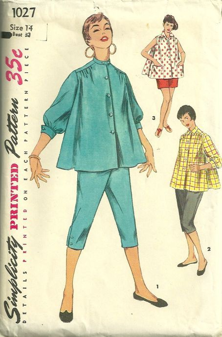 60dc3ca0d601f Simplicity 1027 1950s Misses Maternity Pattern Toreador Pants Shorts and  Blouse Womens Vintage Sewing Pattern by patterngate.com
