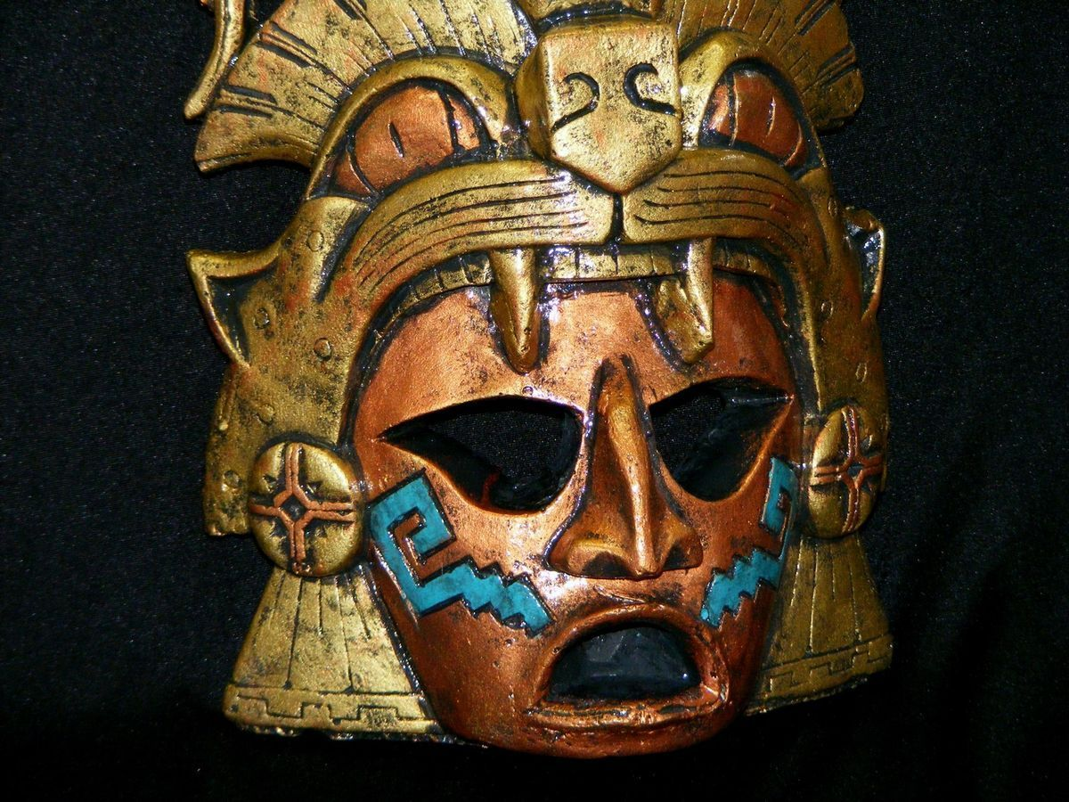 large aztec warrior mask stone jaguar calendar mayan