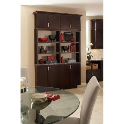 Hampton Bay Shaker Assembled 36x34 5x24 In Base Kitchen Cabinet With Ball Bearing Drawer Glides In Java Kb36 Sjm The Home Depot Base Cabinets Pantry Cabinet Kitchen Cabinets