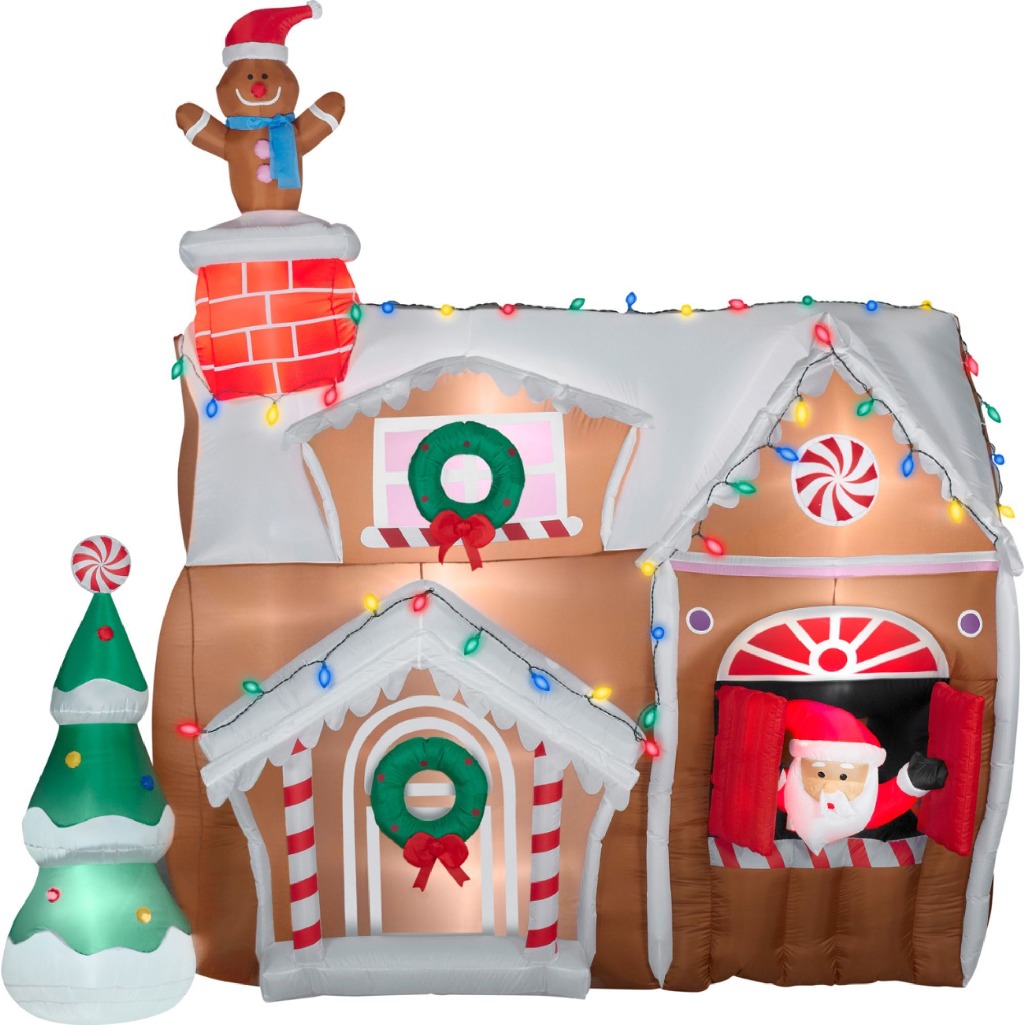 Gemmy inflatable airblown reindeer outdoor christmas decoration lowe - Gemmy Airblown Inflatables Animated Gingerbread House Outdoor Christmas Decorationsyard