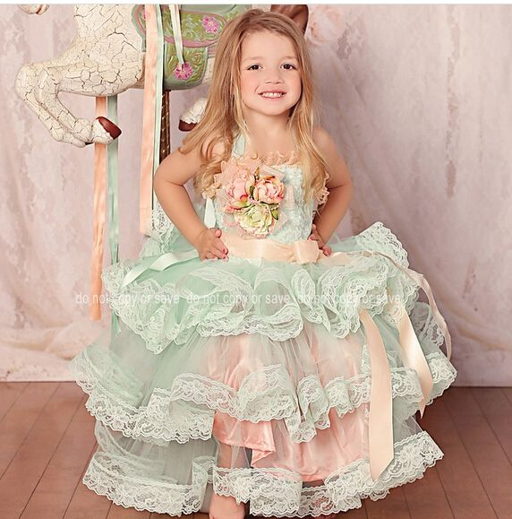 $129.00 (Buy here: http://appdeal.ru/detp ) Adorable Halter Ruffles Lace Rosette Little Girl Tulle Ball Gown Baby Graduation Dress Vestidos de First Communion 1-14 Year Old for just $129.00